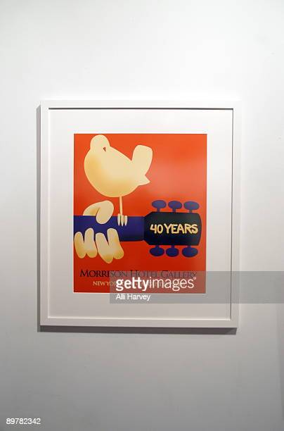 The 40th anniversay of Woodstock event poster showcased at Morrison Hotel Gallery on August 13 2009 in New York City
