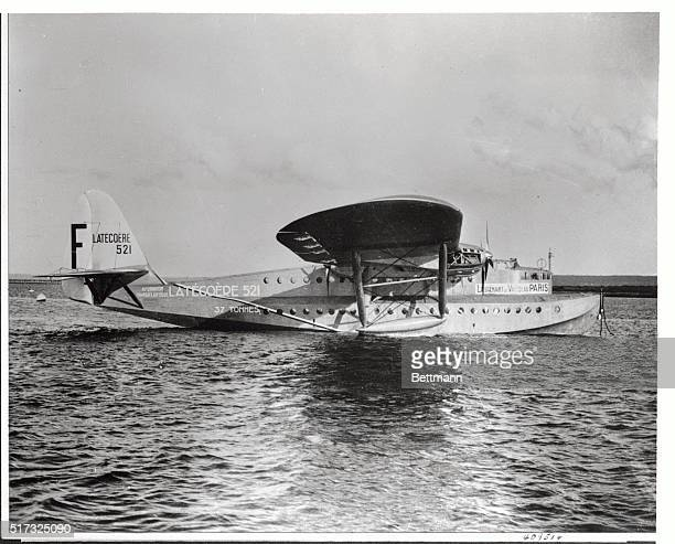 The 40ton French flying boat 'Lieutenant De Vaisseau Paris' world's largest seaplane which is due to make survey flights over the North Atlantic this...