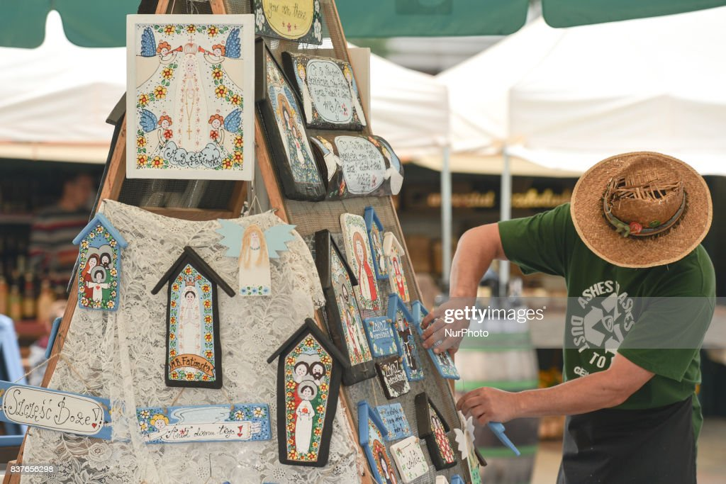 The 41st International Folk Art and Craft Fair takes place in Krakow's Main Market Square, a beautiful tradition and meeting with traditional potters, lace-makers, folk sculptors, weavers, embroiderers, painteurs, sculptors and blacksmiths from from Poland and neighbouring countries. On Tuesday, August 22, 2017, in Krakow, Poland.