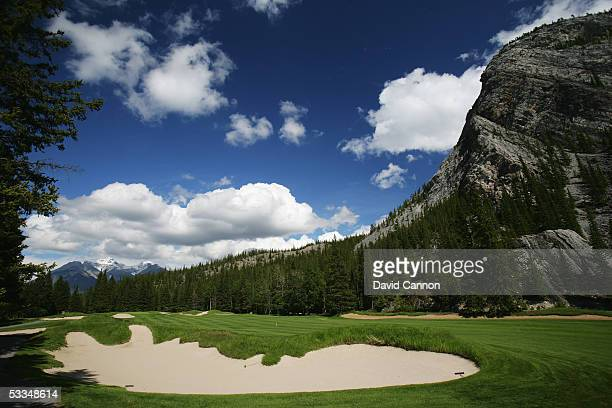 The 421 yard par 4 16th hole on the Stanley Thompson Eighteen Course at The Fairmont Banff Springs Resort on June 24 2005 in Banff Alberta Canada