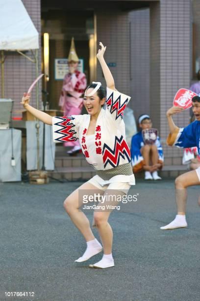 the 42nd kanagawa yamato awa odori dance (2018) aoiren - awa dance festival stock photos and pictures