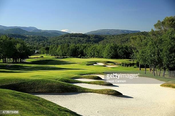 The 430 metres par 4, 4th hole on the 'Le Chateau' course at The Terre Blanche Hotel Spa Golf Resort on May 18, 2015 in Tourettes, Provence, France.