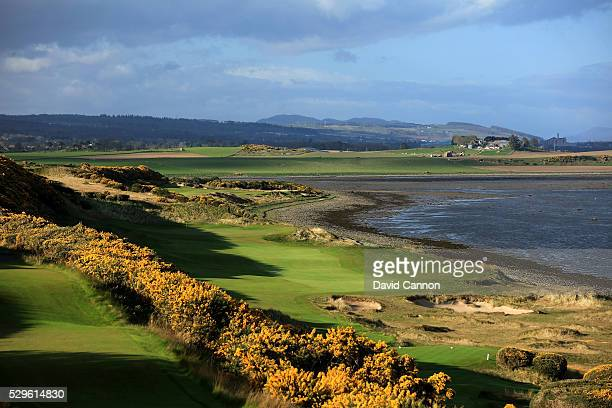 The 434 yards par 4, first hole with the par 5, second hole behind at the Castle Stuart Golf Links which was designed by Mark Parsinen and Gil Hanse...
