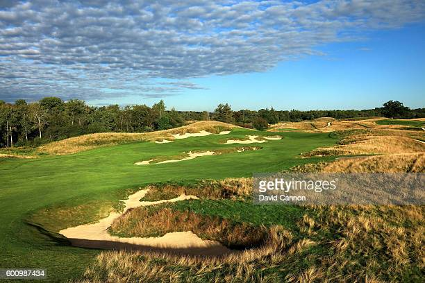 The 439 yards par 4 fourth hole at Erin Hills Golf Course the venue for the 2017 US Open Championship on September 1 2016 in Erin Wisconsin