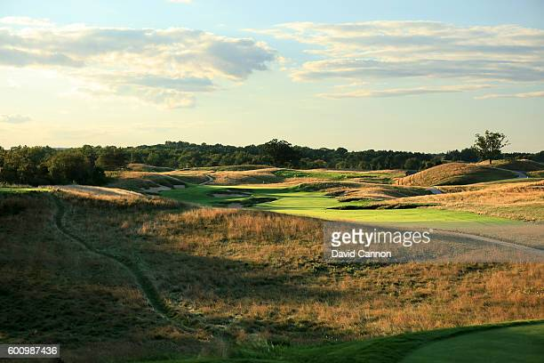 The 439 yards par 4 fourth hole at Erin Hills Golf Course the venue for the 2017 US Open Championship on August 31 2016 in Erin Wisconsin