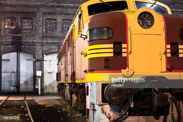 the 44 class diesel locomotive at eveleigh train yard, sydney - cowcatcher stock pictures, royalty-free photos & images