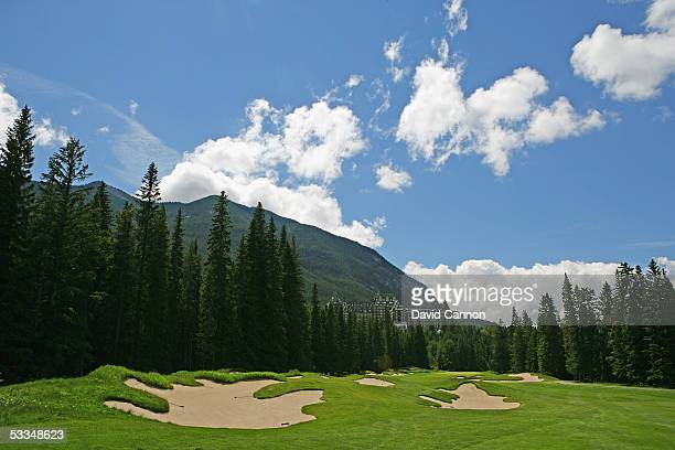 The 447 yard par 4 14th hole 'Wampum' on the Stanley Thompson Eighteen Course at The Fairmont Banff Springs Resort on June 24 2005 in Banff Alberta...