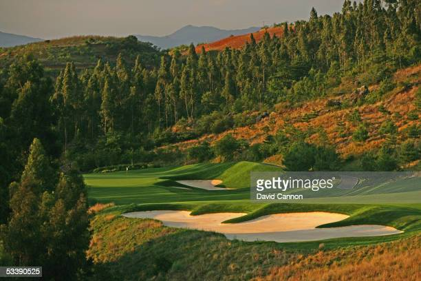 The 448 yard par 4, 2nd hole on the Robert Trent Jones designed Lake Course at the Spring City Golf and Lake Resort on April 28 in Kunming, China.