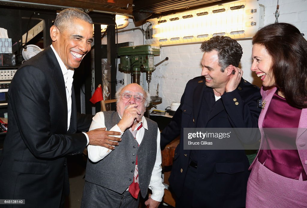The 44th President of The United States Barack Obama, Danny DeVito, Mark Ruffalo and Jessica Hecht chat backstage at The Roundabout Theatre Company's production of 'Arthur Miller's The Price' on Broadway at The American Airlines Theatre on February 24, 2017 in New York City.