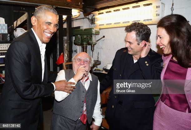 The 44th President of The United States Barack Obama Danny DeVito Mark Ruffalo and Jessica Hecht chat backstage at The Roundabout Theatre Company's...