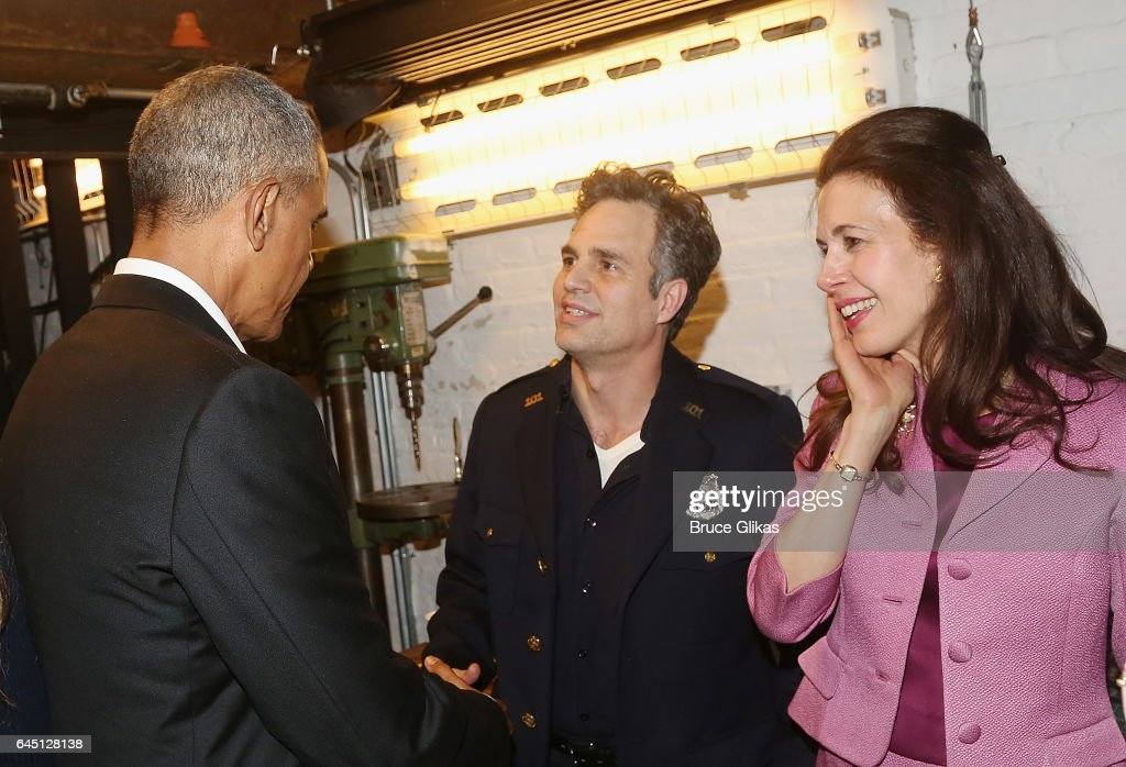 The 44th President of The United States Barack Obama, Mark Ruffalo, and Jessica Hecht chat backstage at The Roundabout Theatre Company's production of 'Arthur Miller's The Price' on Broadway at The American Airlines Theatre on February 24, 2017 in New York City.