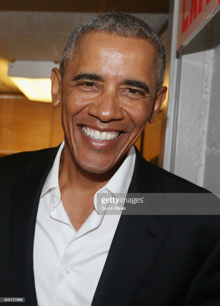 The 44th President of The United States Barack Obama, poses backstage at The Roundabout Theatre Company's production of 'Arthur Miller's The Price' on Broadway at The American Airlines Theatre on February 24, 2017 in New York City.