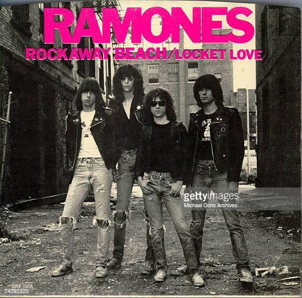 The 45 picture sleeve of the Ramones single 'Rockaway Beach', backed with 'Locket Love' from the album 'Rocket To Russia' and released on November 4,...