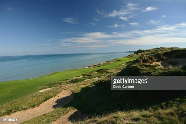 The 455 yard par 4 4th hole 'Glory' on the Straits Course at Whistling Straits on September 17 2005 in Kohler Wisconsin United States