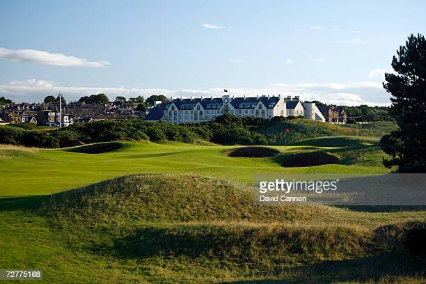 The 459 yds, par 4, 15th hole 'Lucky Slap' on the Carnoustie Championship Course, venue for the 2007 Open Championship on September 7th in...
