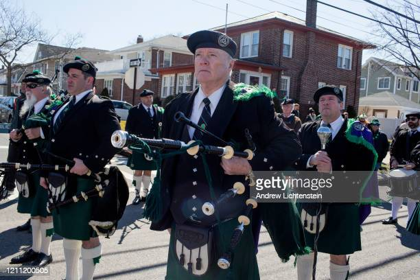 The 45th annual Queens County St Patrick's Parade marches down Newport Avenue on March 7 2020 in the Rockaway neighborhood of Queens New York The...