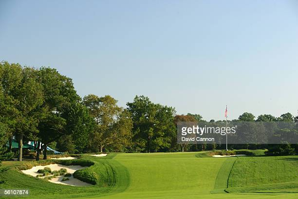 The 463 yard par 4 18th hole on the East Course at Merion Golf Club on September 22 2005 in Ardmore Pennsylvania United States
