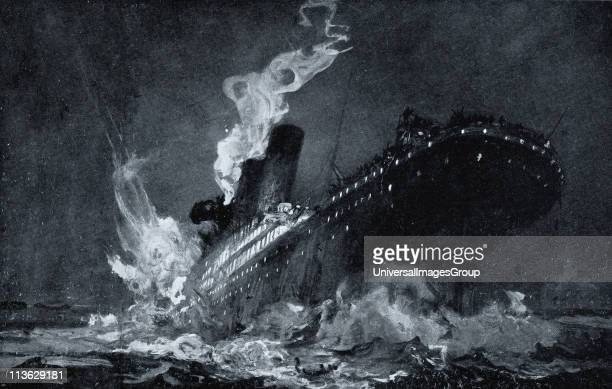 The 46,328 tons RMS Titanic of the White Star Line sinking around 2:20 AM Monday morning April 15 after hitting iceberg in North Atlantic from...