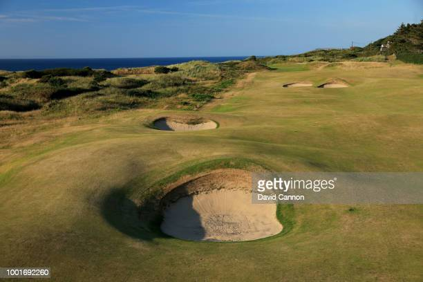 The 479 par 4, fourth hole 'Fred Daly's' on the Dunluce Links at Royal Portrush Golf Club the venue for The Open Championship 2019 on July 2, 2018 in...