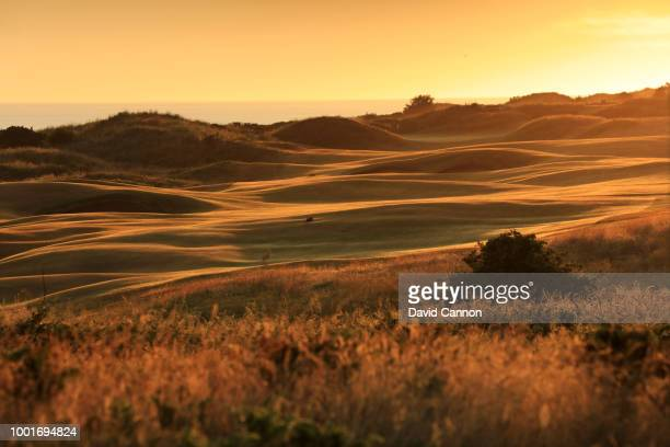 The 479 par 4 fourth hole 'Fred Daly's' on the Dunluce Links in the morning light at Royal Portrush Golf Club the venue for The Open Championship...