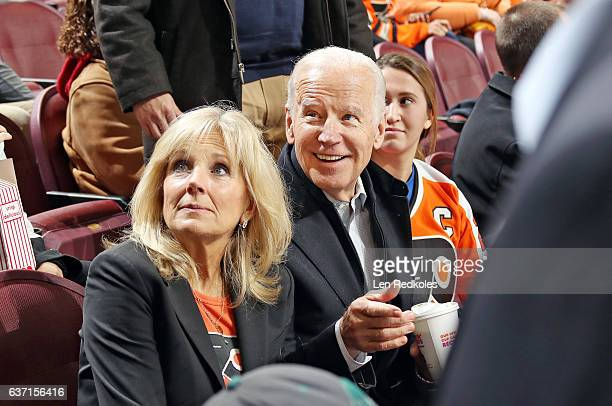 The 47th Vice President of the United States Joe Biden and his wife Jill Biden look on as the staff of the Wells Fargo Center prepares to present...