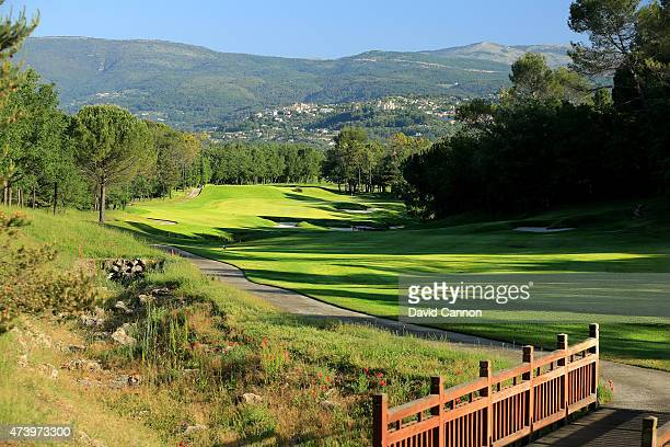 The 486 metres par 5 11th hole on the 'Le Chateau' course at The Terre Blanche Hotel Spa Golf Resort on May 18 2015 in Tourettes Provence France