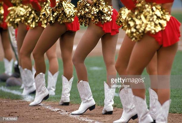 The 49ers Cheerleaders performs during a game between the Atlanta Falcons and the San Francisco 49ers at Candlestick Park on September 10 1995 in San...