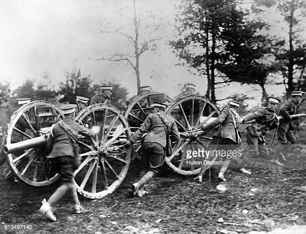 The 4th Canadian Field Battalion pull their artillery into firing position along the Western Front during the First World War.