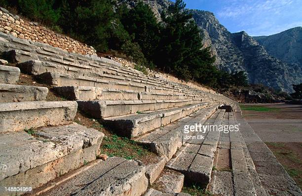 The 4th century B.C. stadium at Delphi, one of the best preserved in all of Greece and home to the ancient Pythian Games.