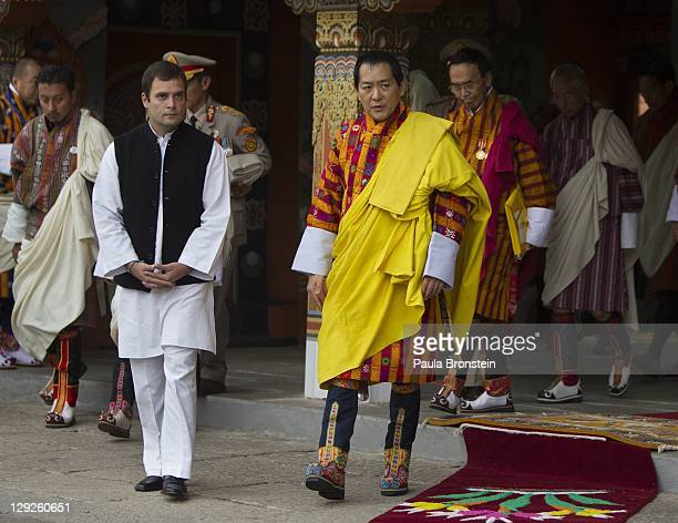 The 4th King of Bhutan Jigme Singey Wangchuck attends an early prayer morning ceremony along side Rahul Gandhi for the the new Royal couple at the...