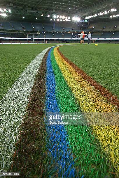 The 50 metre arcs are painted rainbowcoloured during the round 21 AFL match between the St Kilda Saints and the Sydney Swans at Etihad Stadium on...