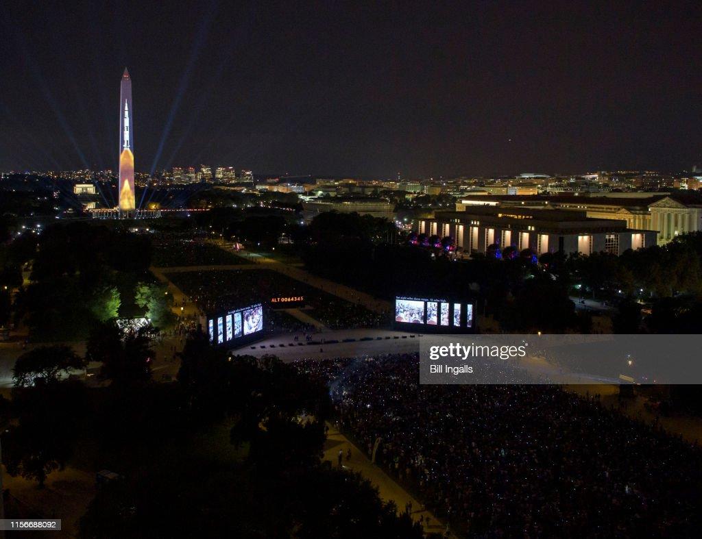 Apollo 11 Saturn V Rocket Projected On The Washington Monument : News Photo