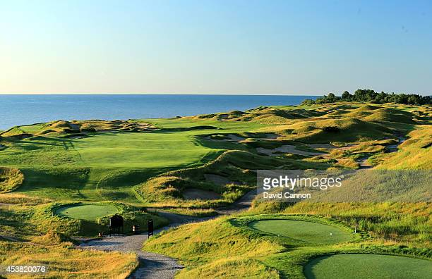 The 503 yards par 4, 15th hole 'Grand Strand' on the Whistling Straits 'Straits' Course venue for the 2015 PGA Championship on August 14, 2014 in...