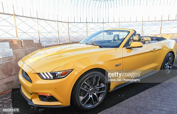The 50th Anniversary Of The Ford Mustang, the 2015 Mustang 50 year Limited Edition is on display at the top of The Empire State Building on April 16,...