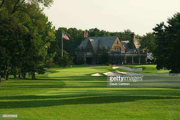 The 521 yard par 5, 9th hole, 'Meadow' with the clubhouse on the West Course at Winged Foot Golf Club venue for the 2006 US Open, on September 19,...