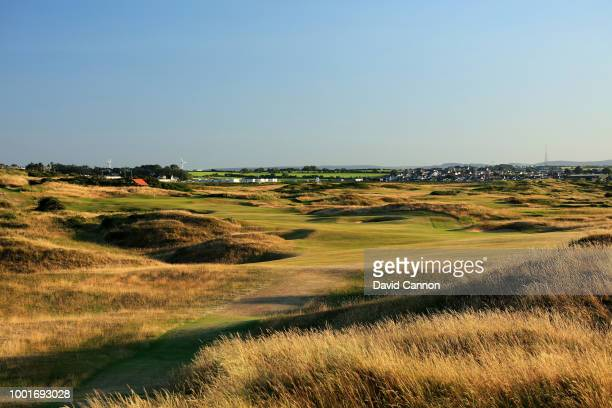 The 530 yards par 5, 12th hole 'Dhu Varren' on the Dunluce Links at Royal Portrush Golf Club the venue for The Open Championship 2019 on July 2, 2018...