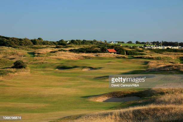 The 530 yards par 5 12th hole 'Dhu Varren' on the Dunluce Links at Royal Portrush Golf Club the venue for The Open Championship 2019 on July 2 2018...
