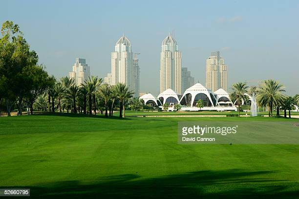 The 547 yard par 5, 18th hole on the Majilis Course at the Emirates Golf Club, on December 06 in Dubai, United Arab Emirates.
