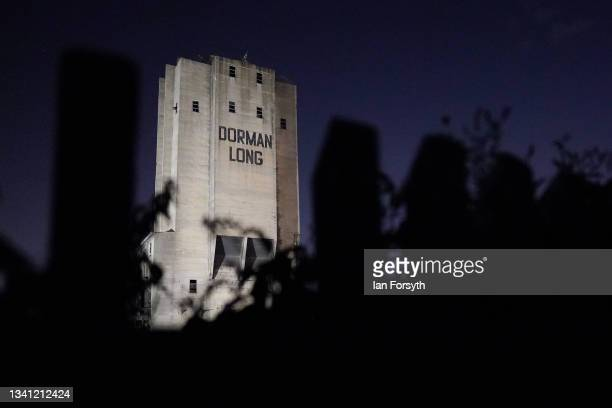 The 55 metre high Dorman Long Tower at Southbank on the former Redcar steelworks site is lit by floodlights before being demolished in a controlled...