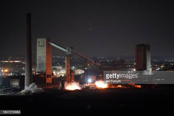 The 55 metre high Dorman Long Tower at Southbank on the former Redcar steelworks site is razed in a controlled demolition on September 19, 2021 in...