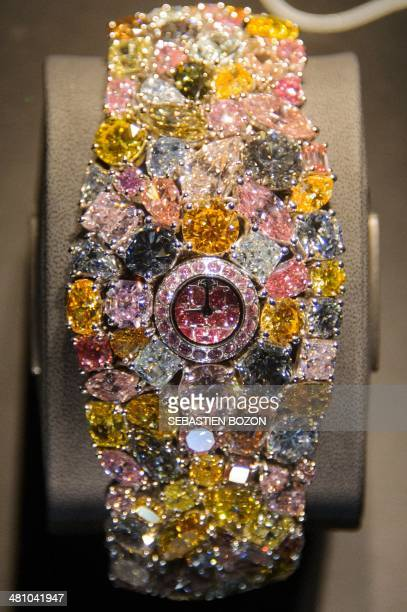 The 55 million US Dollars Hallucination watch set with a multitude of rare coloured diamonds is displayed at the booth of British jeweller Graff at...