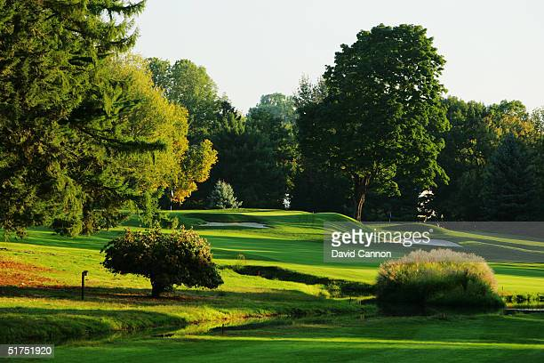 The 553 yard par 5 18th hole on the Lower Course at Baltusrol Golf Club venue for the 2005 USPGA Championship, on September 24, 2004 in Springfield,...
