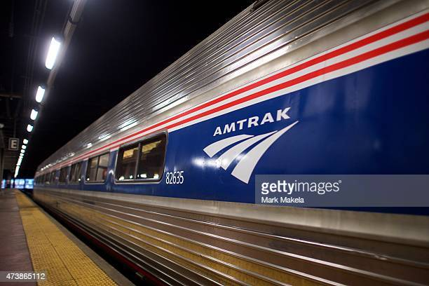 The 553am first train of Amtrak's northbound service from 30th Street Station arrives to the platform after last week's derailment on May 18 2015 in...