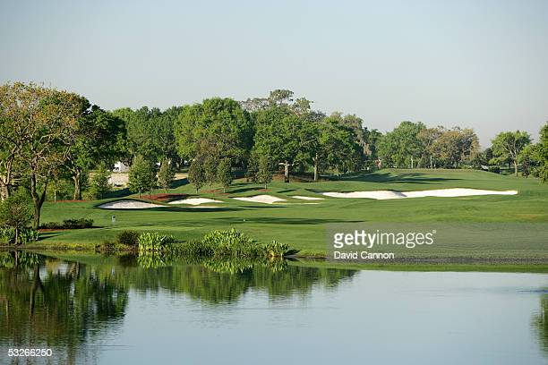 The 558 yard par 5, 13th hole on the Isleworth Country Club Course on April 05 in Windermere, Florida, United States.