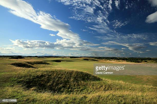 The 568 yards par 5 5th hole 'Hole O'Cross Out' on the Old Course at St Andrews venue for The Open Championship in 2015 on July 29 2014 in St Andrews...