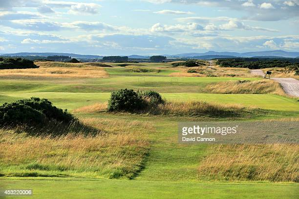 The 568 yards par 5, 5th hole 'Hole O'Cross Out' on the Old Course at St Andrews venue for The Open Championship in 2015, on July 29, 2014 in St...