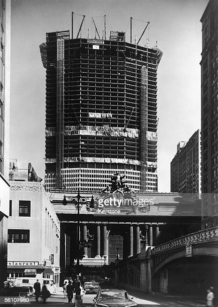 The 58 storey Pan American building in New York which stands over the Grand Central Terminal station early 1960s