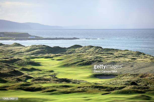 The 590 yards par 5, seventh hole 'Curran Point' at Royal Portrush Golf Club the venue for The Open Championship 2019 on September 12, 2018 in...