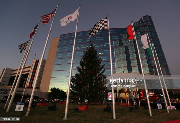 The 59foot Douglas fir tree waits to be lit in frint of the Speedway Club at the Speedway Children's CharitiesTexas Chapter Grant Ceremony and Tree...