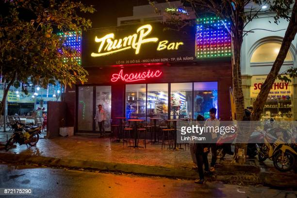 The 5month old bar named after US President Donald Trump is seen on November 9 2017 in Danang Vietnam Nguyen Ha Anh Tuan 32 owner of Trump Bar states...